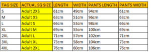 Team Jacket Set Size Chart